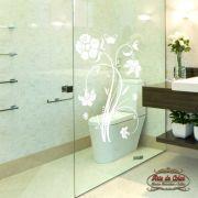 Adesivo para Box de Banheiro Florais Floral 03 Branco