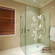 Adesivo para Box de Banheiro Florais Floral 35 Branco