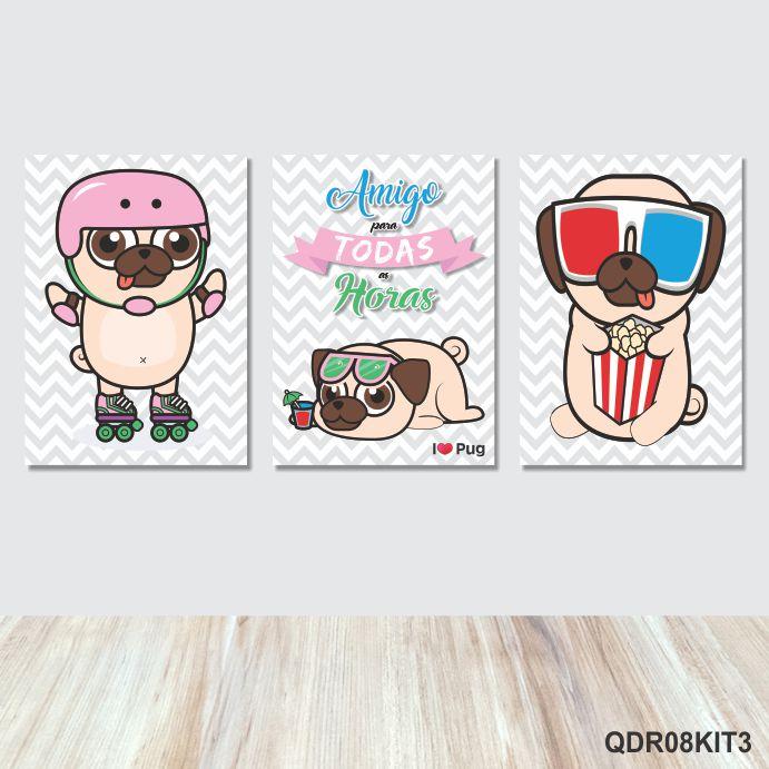 3 Quadros Decorativos Pug Amigo para Todas as Horas