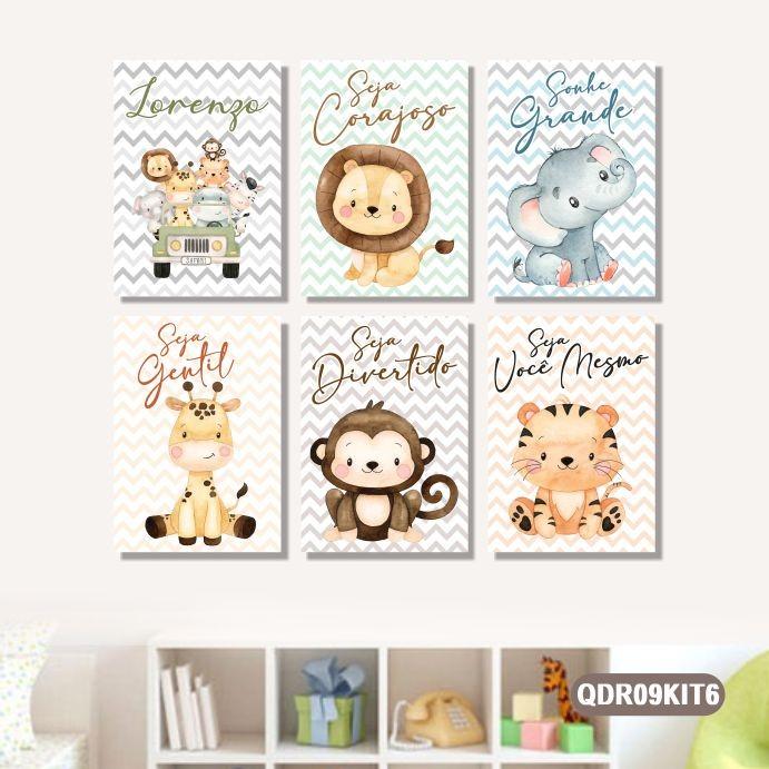 6 Quadros Decorativos Personalizado Infantil Bebê Safári Zoo