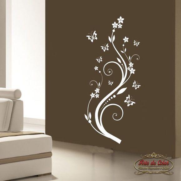Adesivo de Parede Florais Floral 02 Branco