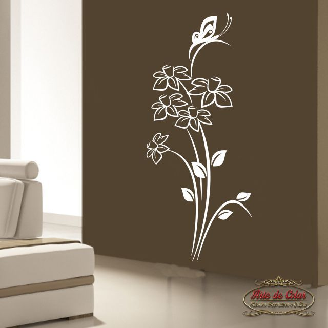 Adesivo de Parede Florais Floral 31 Branco