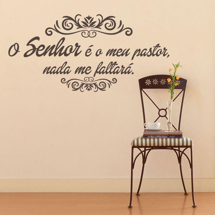 Adesivo de Parede Frases Salmo 23 - Marrom