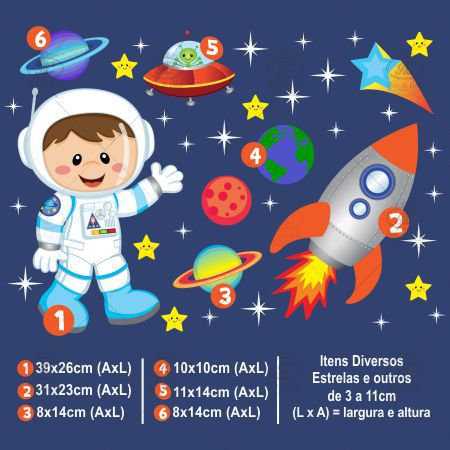 Adesivo de Parede Infantil Astronauta Menino