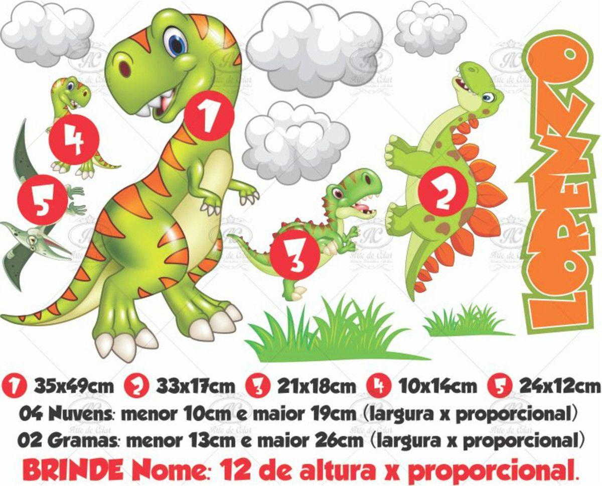 Adesivo de Parede Infantil Dinossauro - Brinde Nome