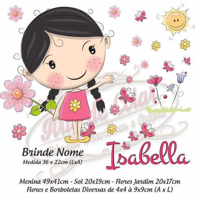 Adesivo de Parede Infantil Menina Morena - Brinde Nome