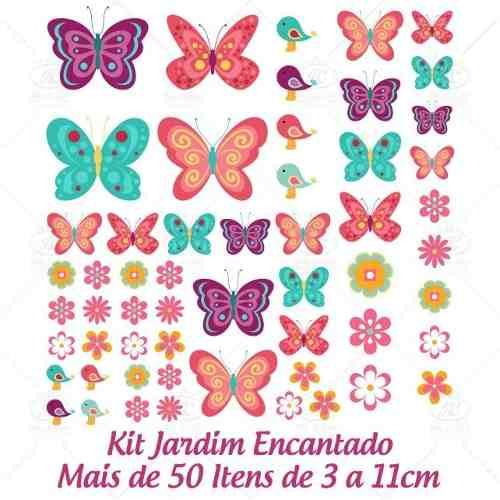 Adesivo de Parede Jardim Encantado Flores e Borboletas