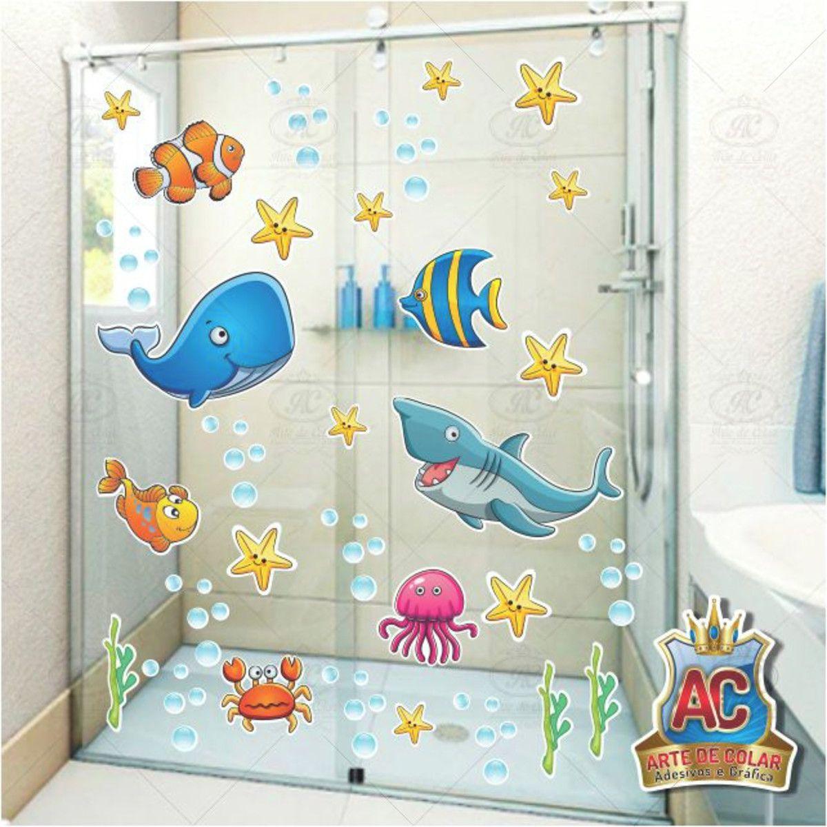 Adesivo Infantil Box Banheiro Peixes Fundo Do Mar 80x50cm