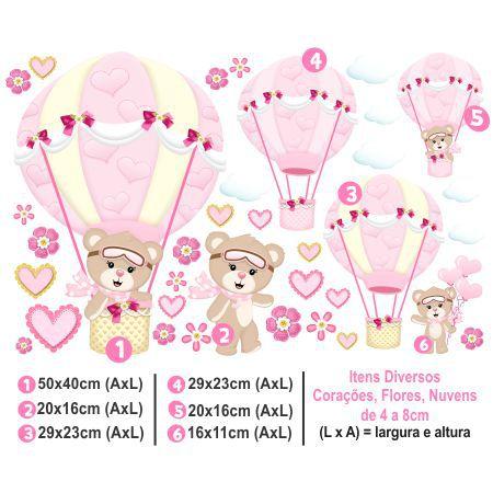 Adesivo Infantil de Parede Balões Ursinha Menina