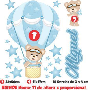 Adesivo Infantil de Parede Balões Ursinho Menino