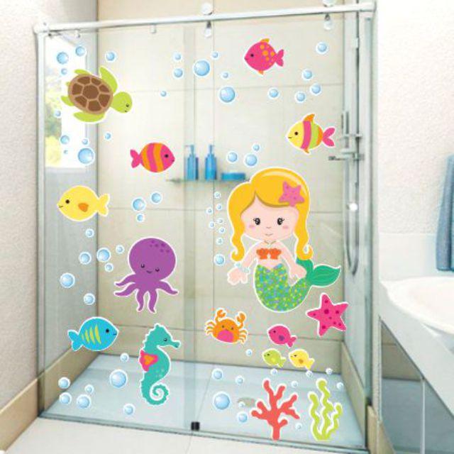 Adesivo Infantil Para Box Banheiro Fundo Do Mar Sereia