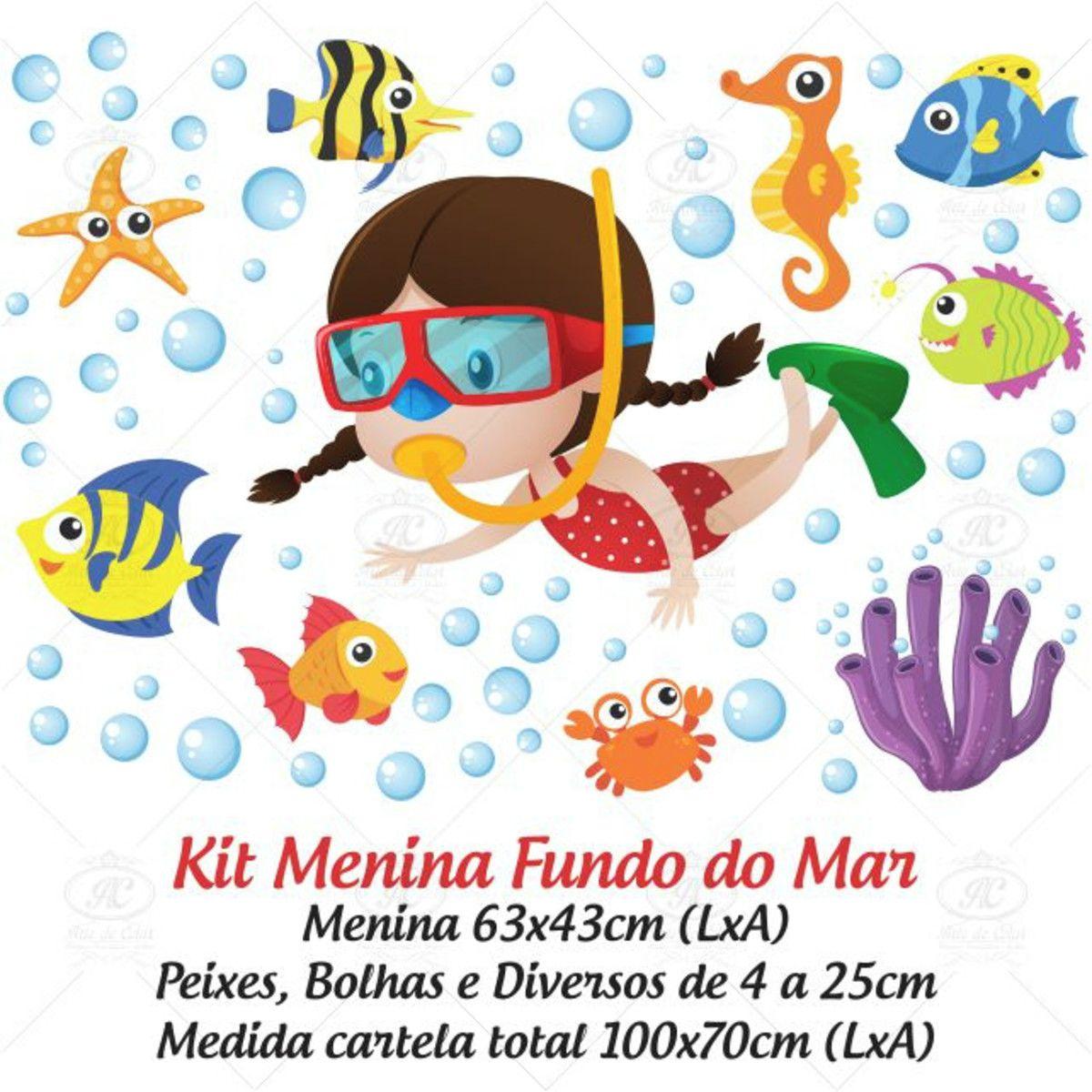 Adesivo Infantil para Box Fundo do Mar Menina 100x70cm