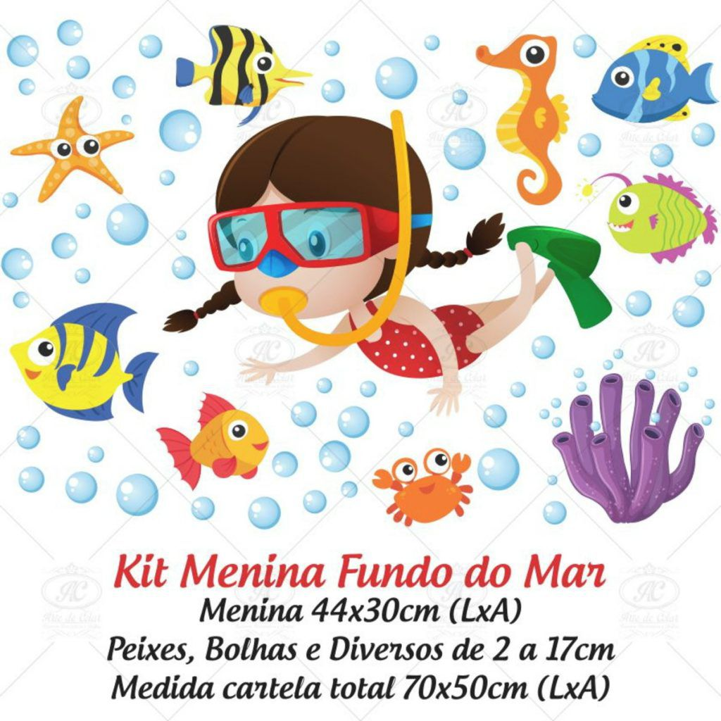 Adesivo Infantil para Box Fundo do Mar Menina