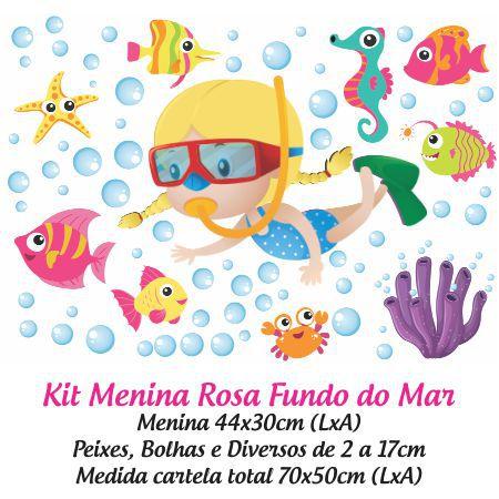 Adesivo Infantil para Box Fundo do Mar Menina Loira
