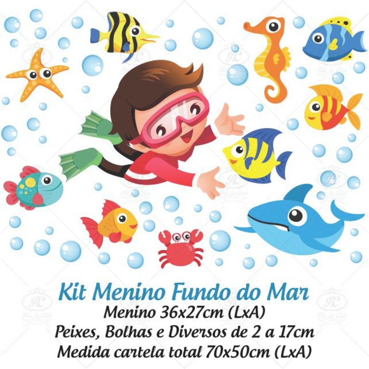 Adesivo Infantil para Box Fundo do Mar Menino 70x50cm