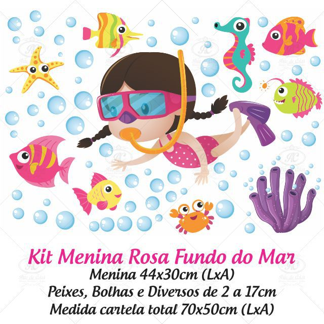 Adesivo Infantil para Box Fundo do Mar Rosa