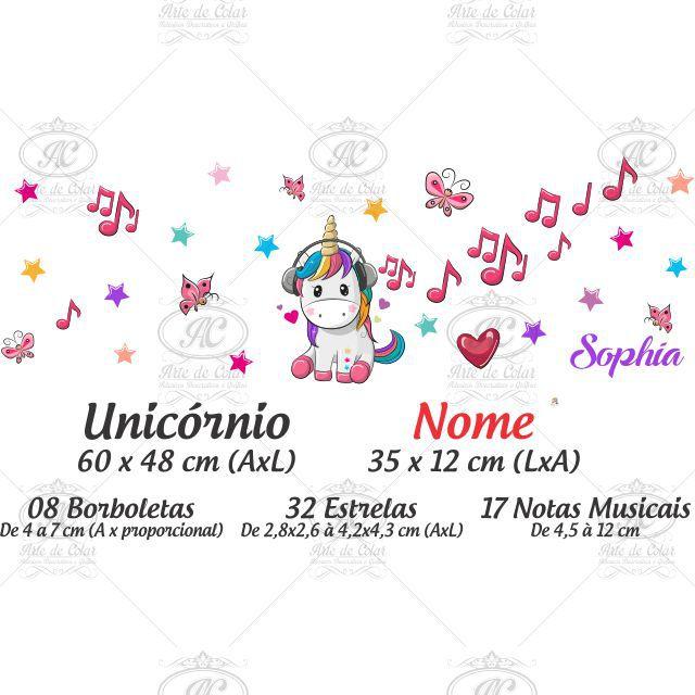 Adesivo Infantil Para Parede Unicórnio Musical - Nome Personalizado