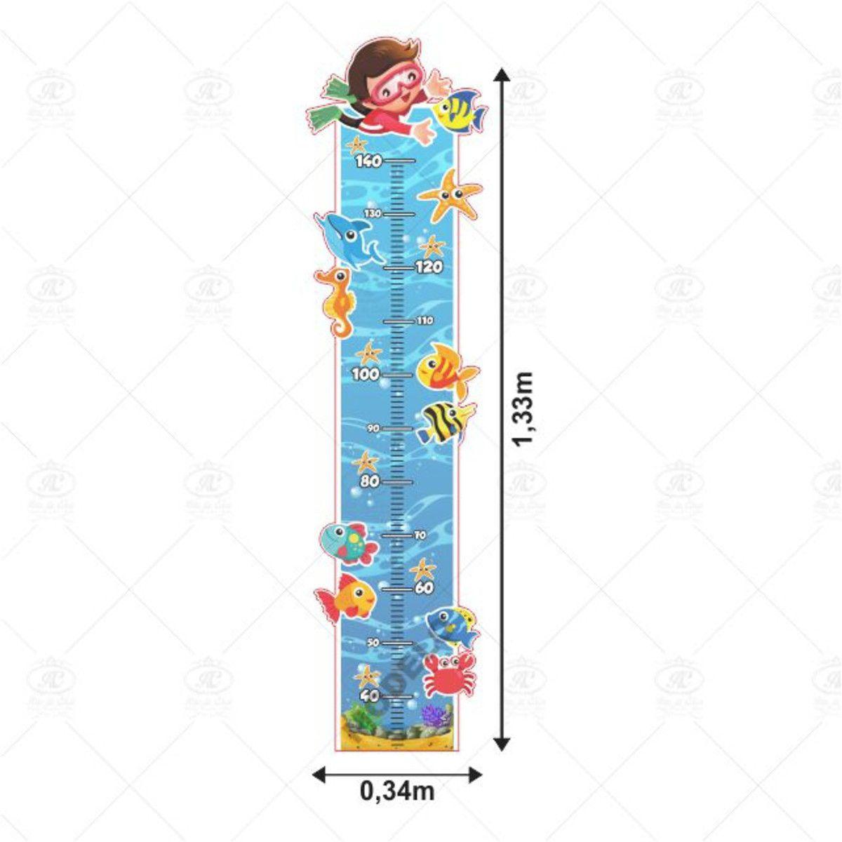 Adesivo Infantil Régua Fundo do Mar Menino