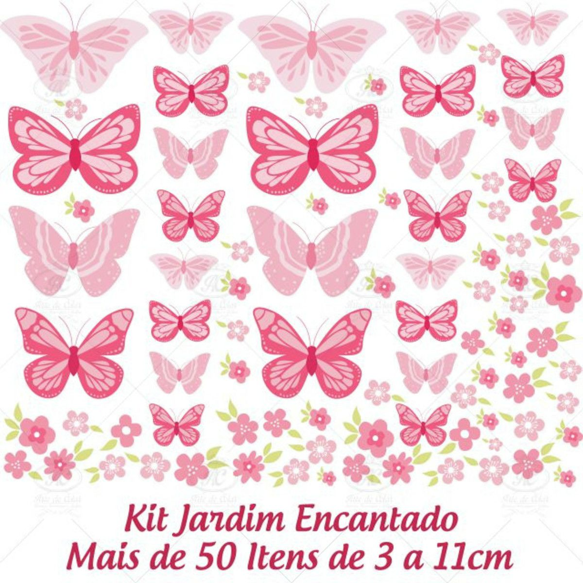 Adesivo Jardim Encantado Flores e Borboletas-JD03