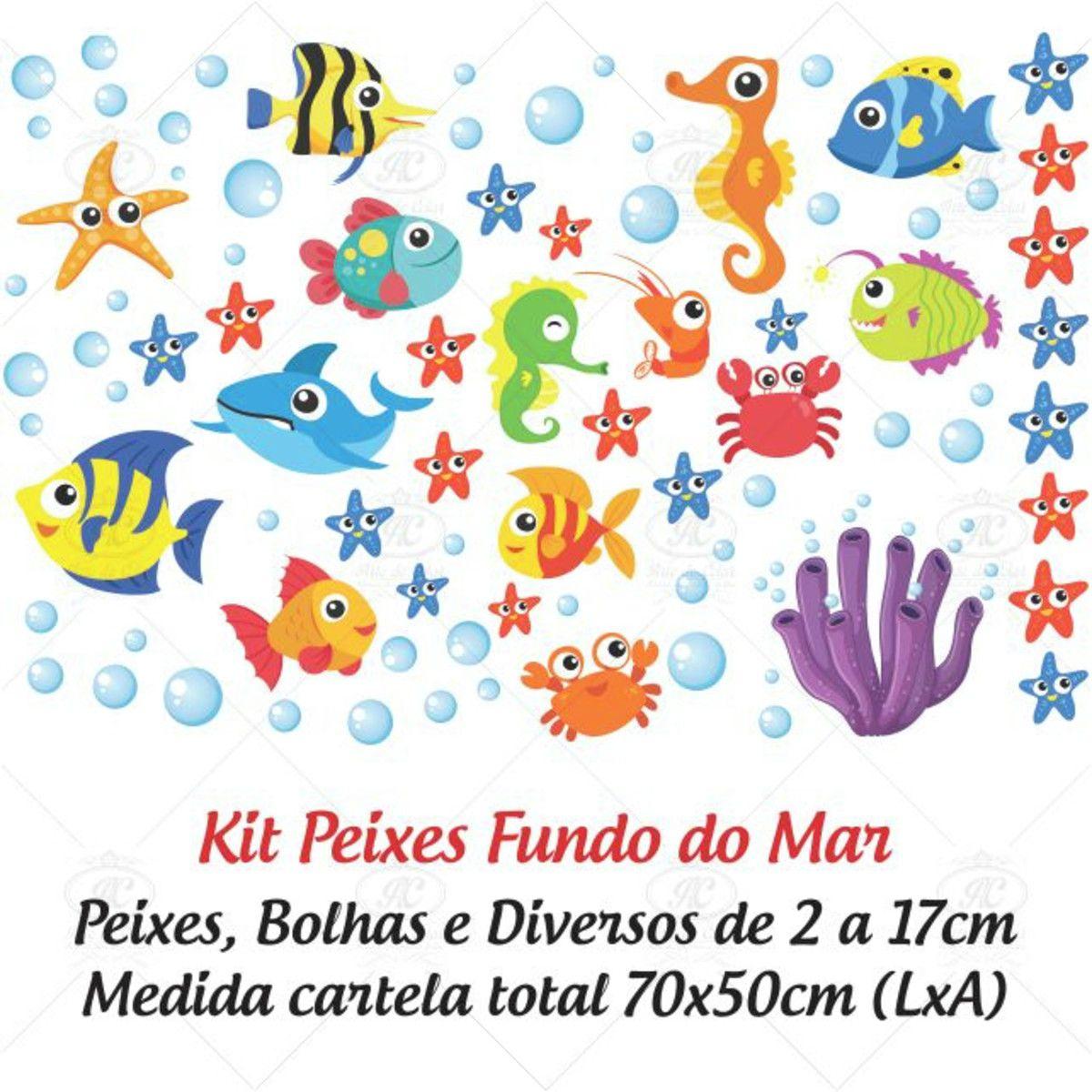 Adesivo para Box de Banheiro Peixes Fundo do Mar