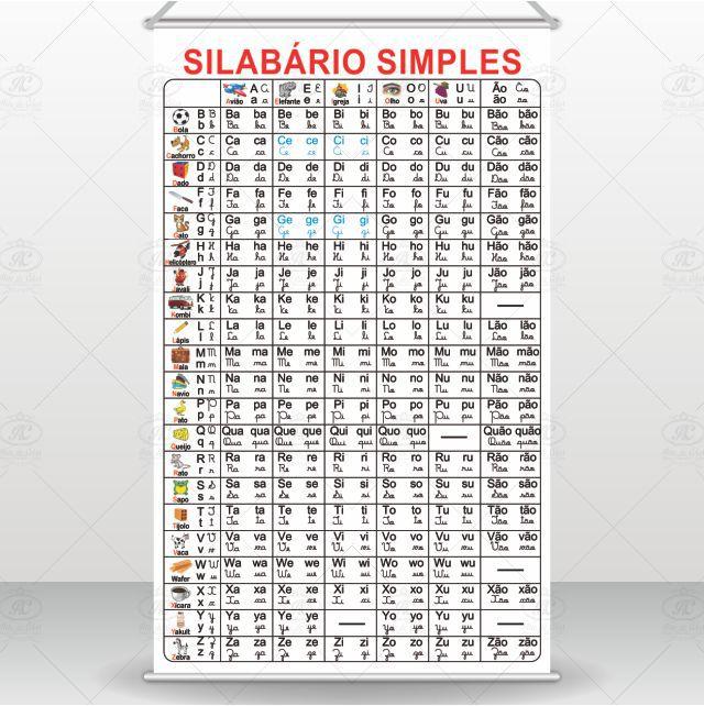 Banner Silabário Simples com Letra Cursiva