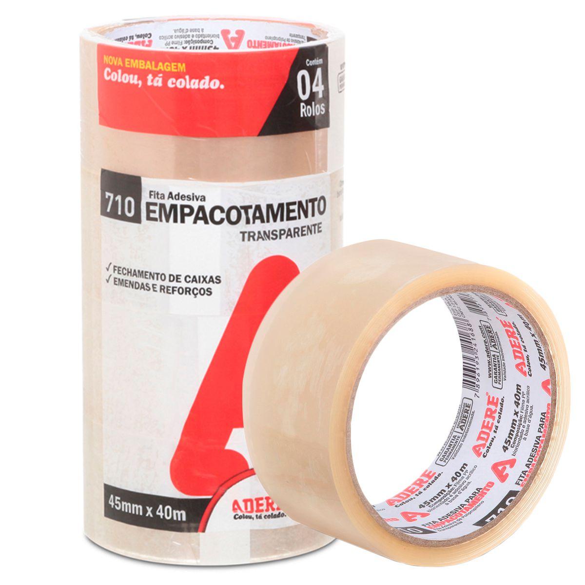 Fita Adesiva Transparente Embalagem 45mm X 40m Pct 4 unid