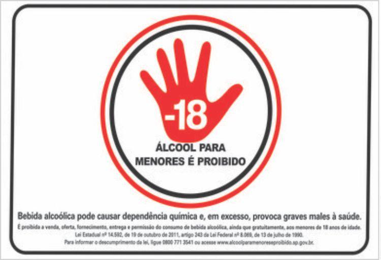 Placa Proibido Álcool Para Menores Placa Sinalização 30x20