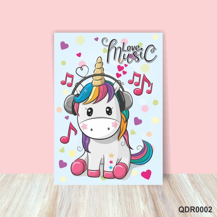 Quadro Decorativo Bebê Infantil Love Music Unicórnio