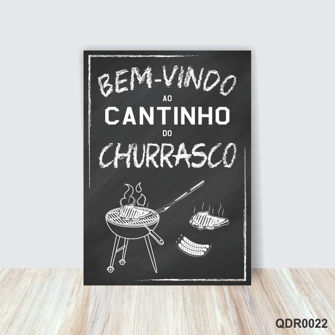 Quadro Placa Decorativa Cantinho do Churrasco P/B
