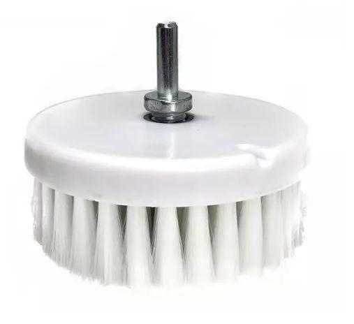 Escova de Higienização para Politriz ou Furadeira rosca M14 Branca Macia DETAILER 120mm