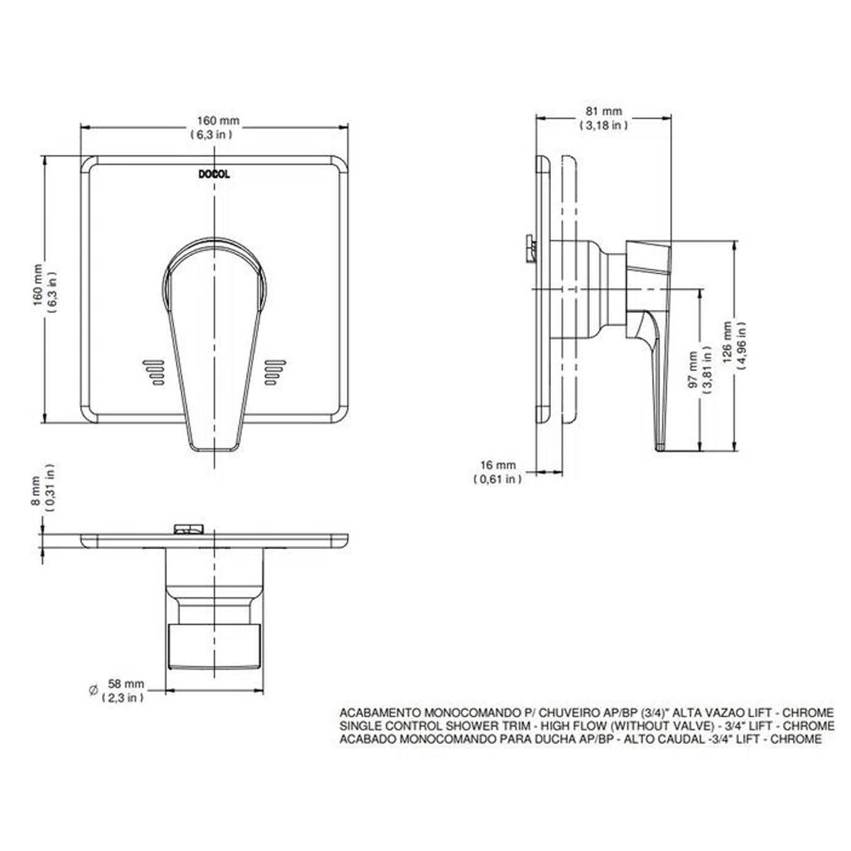 Acabamento Para Chuveiro Docol Lift Monocomando Baixa Pressão 3/4''