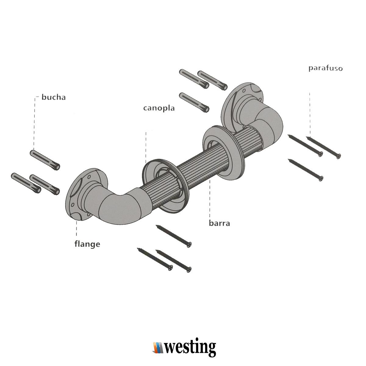 Barra de apoio para Banheiro de aço Inoxidável 30cm - Westing