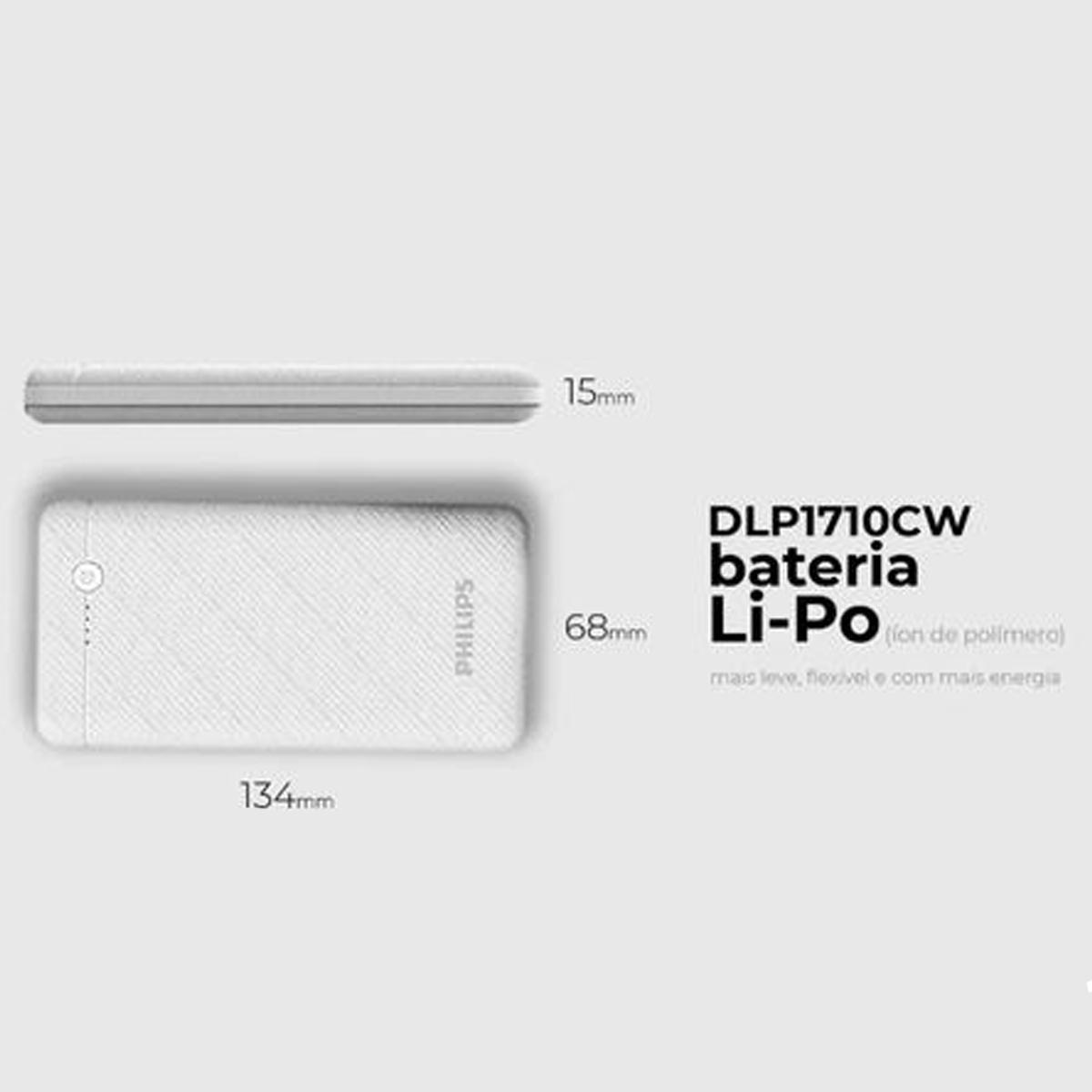 Carregador Bateria Portátil Power Bank Philips Branco 10.000 Mah C/ Cabo USB