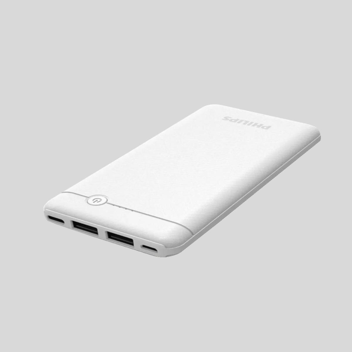 Carregador Portátil Branco Bateria Power Bank 4.000Mah Com Cabo USB