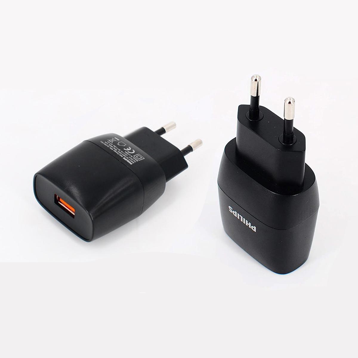 Carregador Turbo Para Celular Philips Cabo USB / USB-C Universal Preto DPL2310C