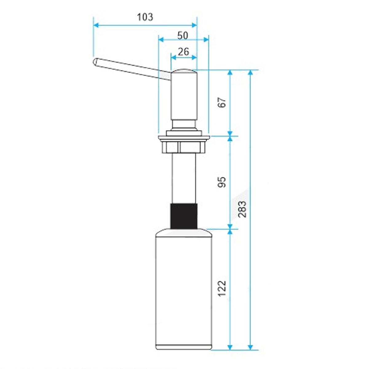 Dosador de Sabão Westing Aço Inox 304 C/ Recipiente Plástico para Bancada Embutir 500ml