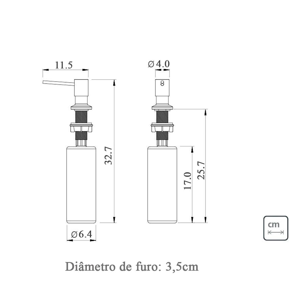 Dosador e Dispenser de Detergente liquido Preto para Granito Pia Embutir 500ml