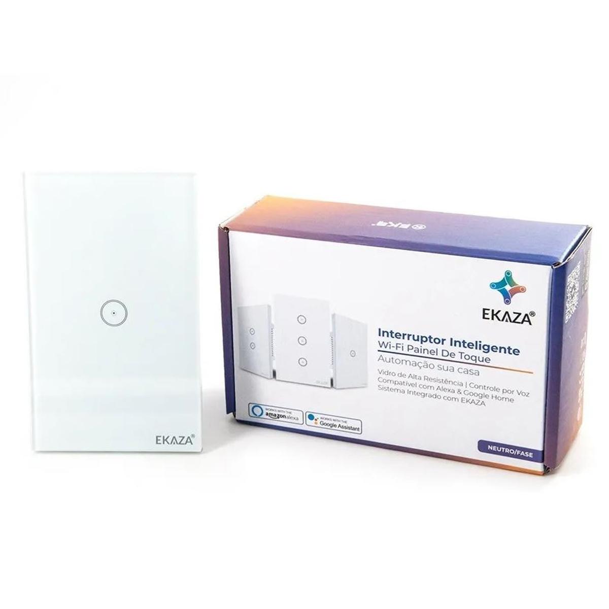 Interruptor Inteligente Ekaza Conexão Wifi C/ Painel de Toque e Comando de Voz - 01 Botão