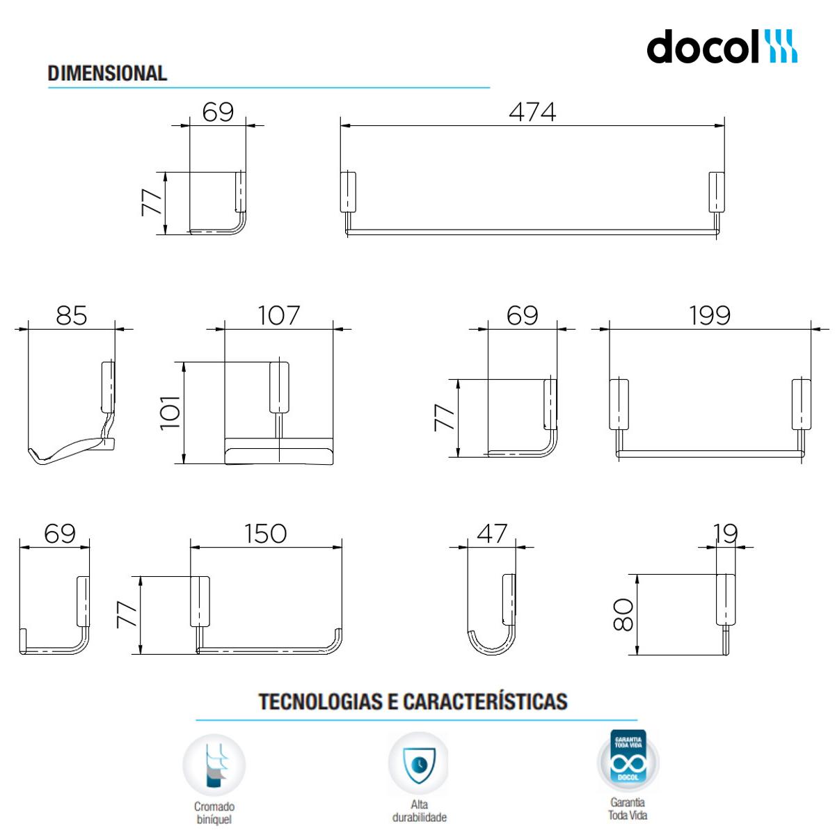 Kit de Acessórios Completo Para Banheiro Idea Docol 5 peças