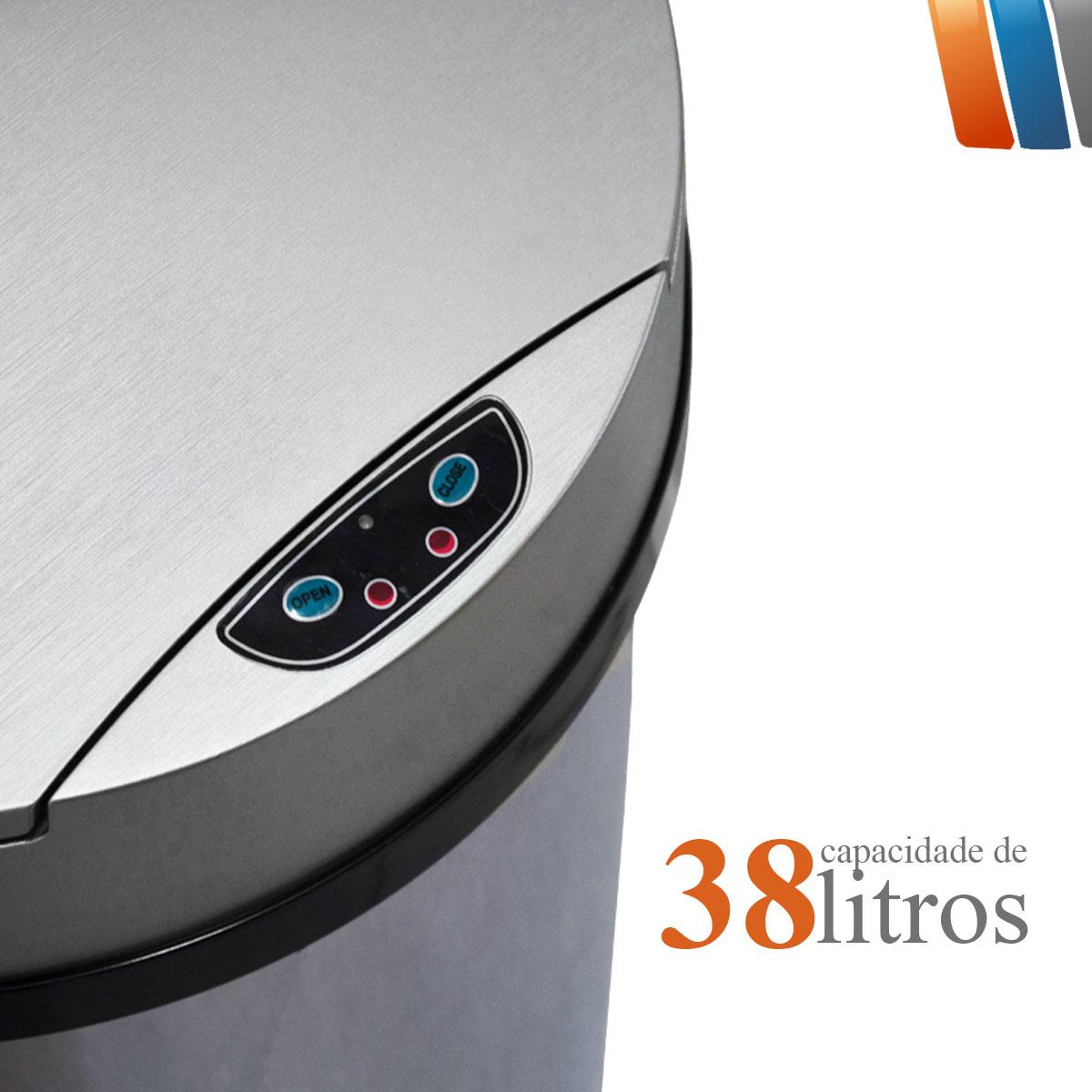 KIT LIXEIRA COM SENSOR AUTOMÁTICO DE 38 LITROS + LIXEIRA COM SENSOR AUTOMÁTICO DE 3 LITROS