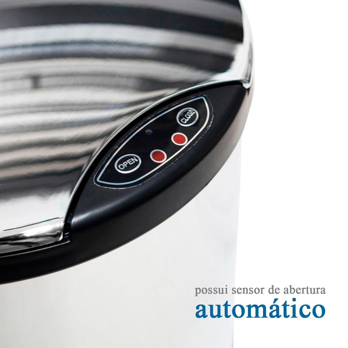 Lixeira Inox Espelhada Com Sensor Automático 6 Litros Westing - Com Avarias