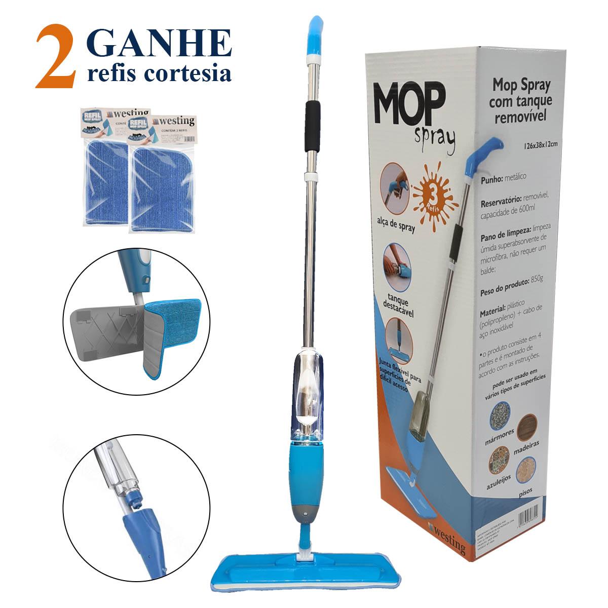 Mop Spray, esfregão vassoura mágica de microfibra com reservatório + 3 Refis