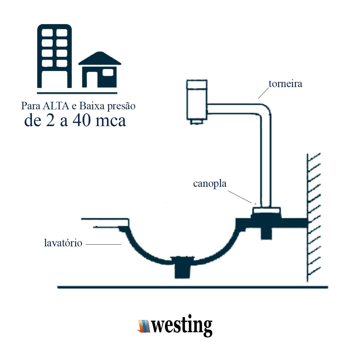 Torneira Link Soft de Mesa Bica Alta para Lavatório e Banheiros - Westing