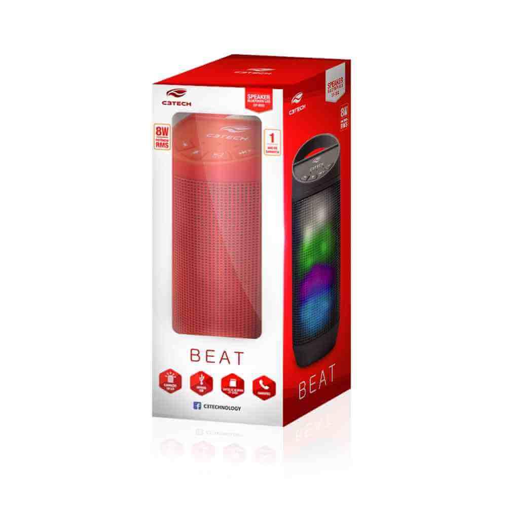 Caixa de Som Bluetooth C3Tech 8w B50 Vermelha