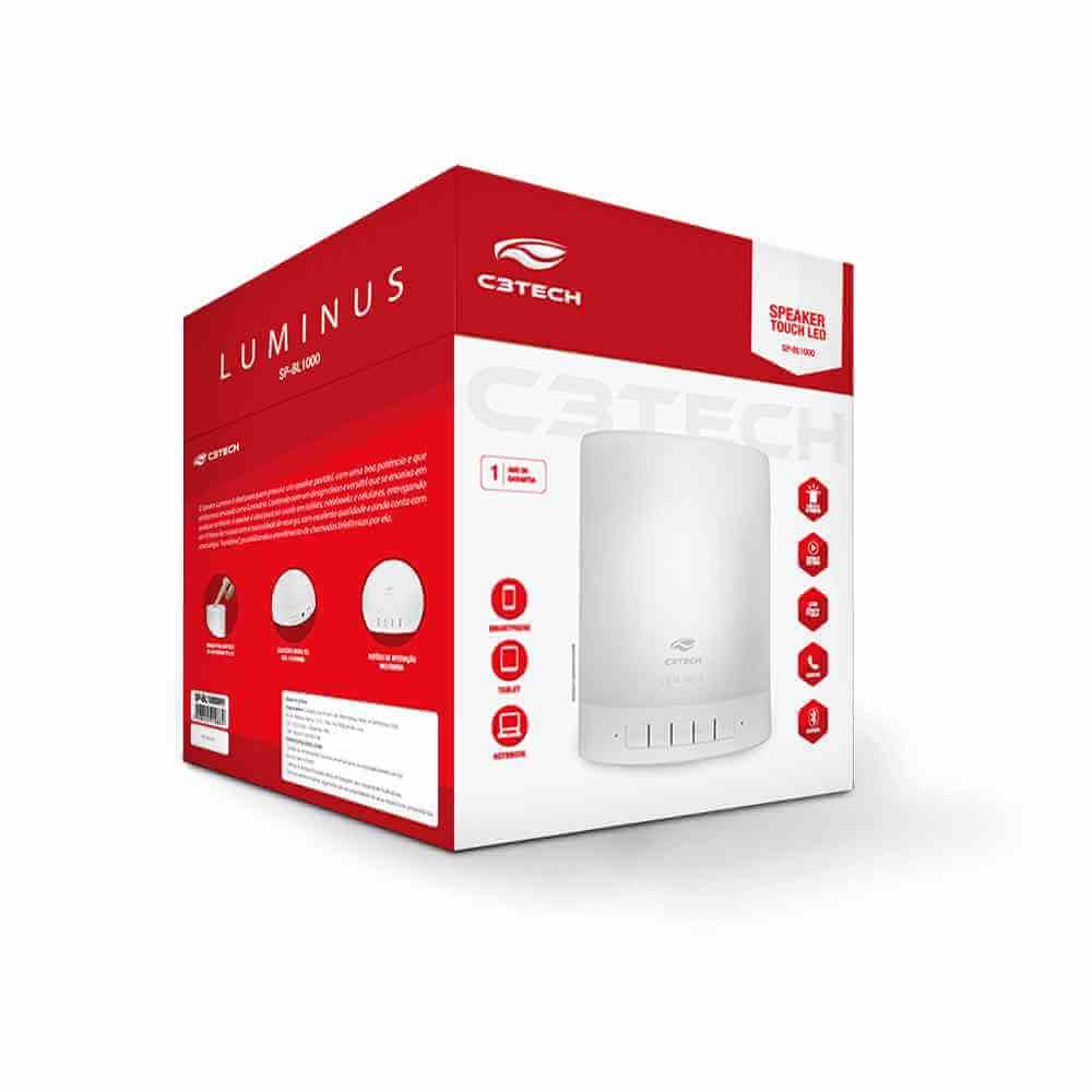 Caixa de Som Bluetooth C3Tech 8w SP-BL1000WH Luminus com Led