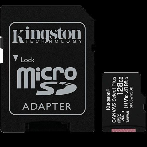 Cartao de Memória MicroSD 128GB + Adaptador C10 Kingston