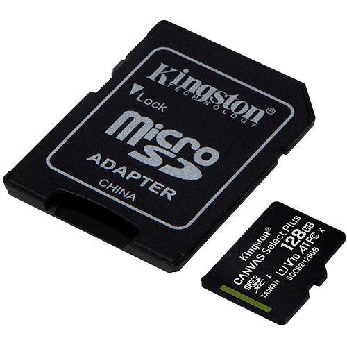 Cartao de Memória MicroSD 128GB + Adaptador C10 Kingston