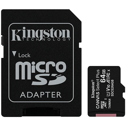 Cartao de Memória MicroSD 64Gb + Adaptador C10 Kingston