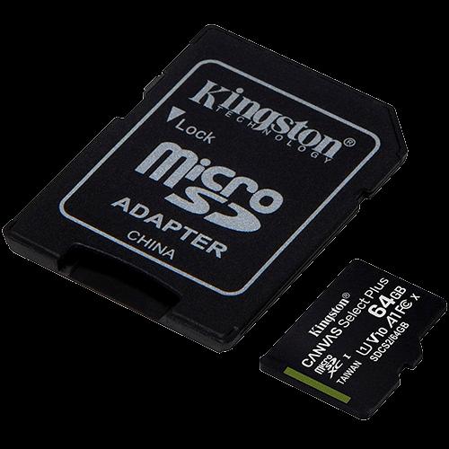 Cartao de Memória MicroSD 64Gb + Adaptador C10 Kingston