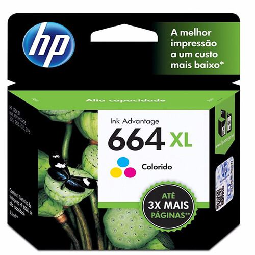 Cartucho HP FV30AB 664XL Colorido 8ml Original
